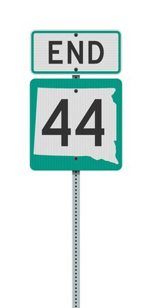 Vector illustration of the South Dakota State Highway 44 and End road signs on metallic post