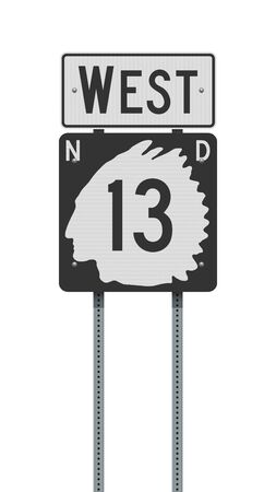 Vector illustration of the North Dakota State Highway 13 and West road signs on metallic posts 向量圖像