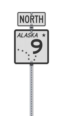 Vector illustration of the Alaska State Highway 9 and North road sign on metallic post
