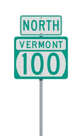 Vector illustration of the Vermont State Highway 100 and North road signs on metallic post