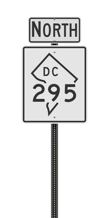 Vector illustration of the District of Columbia State Highway 295 and North road signs on metallic post 向量圖像