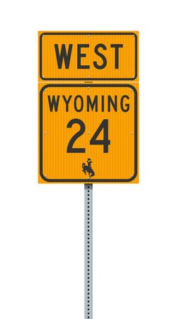 Vector illustration of the Wyoming State Highway 24 and West road signs on metallic post 向量圖像