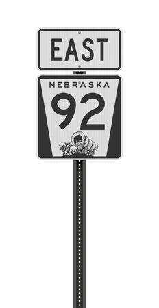 Vector illustration of the Nebraska State Highway 92 and East road signs on metallic post