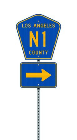 Vector illustration of the Los Angeles County Highway N1 road sign on metallic post
