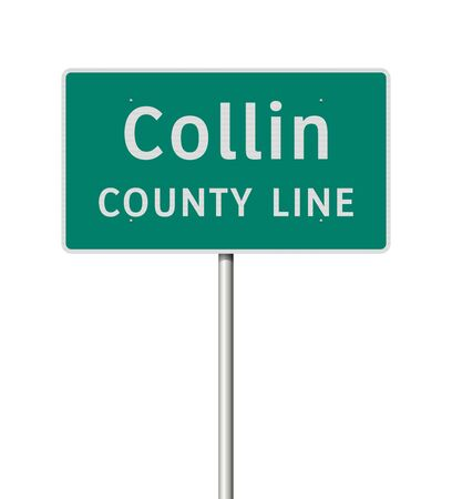 Vector illustration of the Entering Collin County road sign on metallic pole