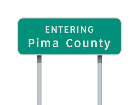 Vector illustration of the Entering Pima County road sign on metallic posts 向量圖像