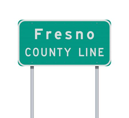 Vector illustration of the Fresno County Line road sign on metallic posts 向量圖像