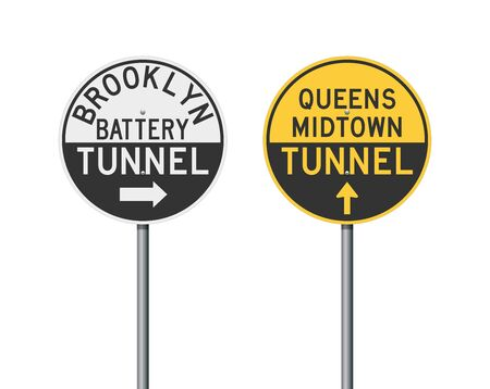 Vector illustration of the Brooklyn and Queens Tunnels road signs on metallic poles