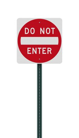 Vector illustration of the Do Not Enter road sign on metallic post