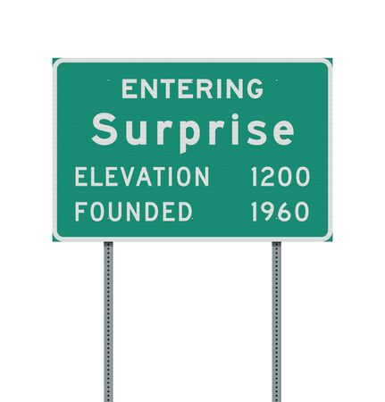 Vector illustration of the Entering Surprise road sign on metallic posts