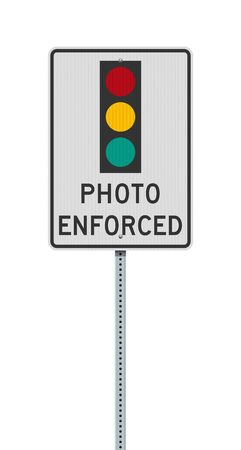 Vector illustration of the Photo Enforced Traffic Light road sign on metallic post