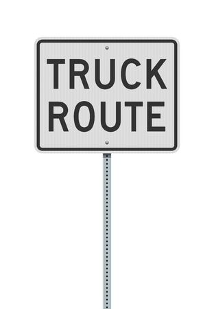 Vector illustration of the Truck Route white road sign on metallic post