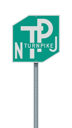 Vector illustration of the New Jersey Turnpike road sign on metallic post 向量圖像