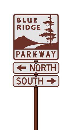 Vector illustration of the Blue Ridge Parkway road sign on metallic pole Ilustração