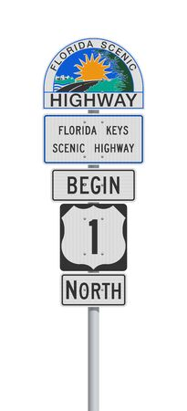 Vector illustration of the Florida Scenic Highway road signs on metallic pole