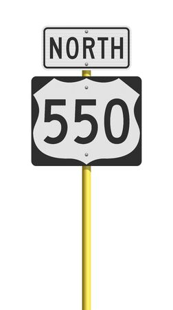 Vector illustration of the Route 550 (Million Dollar Highway, Colorado) and North road signs on metallic yellow pole