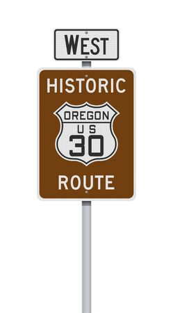 Vector illustration of the Historic Route Oregon 30 and West road signs on metallic post