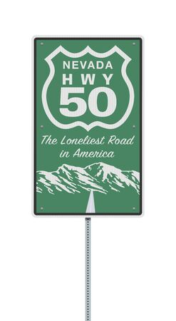 Vector illustration of the Nevada Highway 50 The Loneliest Road in America road sign on metallic post
