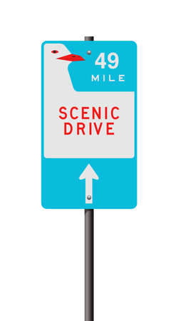 Vector illustration of the Scenic Drive 49 Mile road sign on metallic post