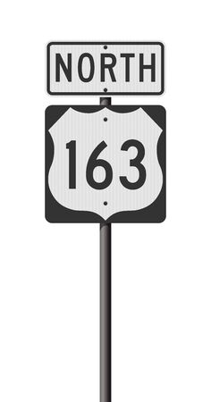 Vector illustration of the Highway 163 and North road signs on metallic post