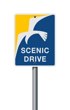 Vector illustration of the Scenic Drive San Diego road sign on metallic post 向量圖像