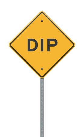 Vector illustration of the Dip Yellow Diamond road sign on metallic post