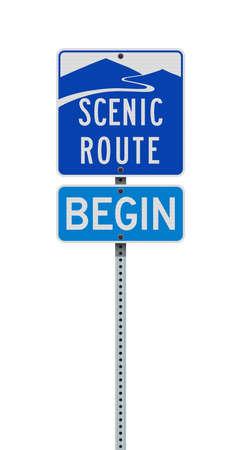 Vector illustration of the Nevada Scenic Route blue road signs on metallic post Ilustração
