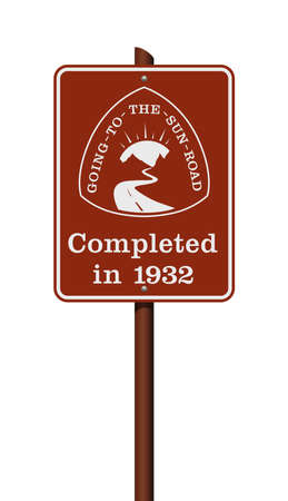 Vector illustration of the Going to the Sun Road sign on metallic pole