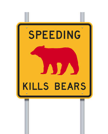 Vector illustration of the Speeding Kills Bears road sign on metallic posts