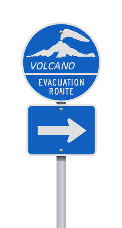 Vector illustration of the Volcano Evacuation Route road signs on metallic post 向量圖像