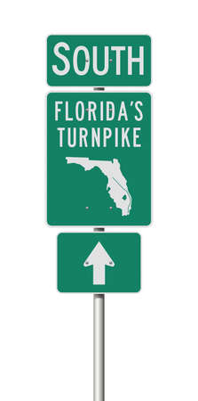 Vector illustration of the Florida's Turnpike green road signs on metallic post Illustration
