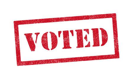 Vector illustration of the word Voted red ink rubber stamp Vektorgrafik