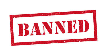 Vector illustration of the word Banned red ink stamp