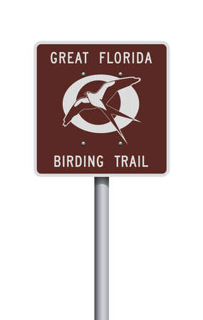 Vector illustration of the Great Florida Birding Trail brown road sign
