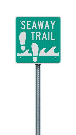Vector illustration of the Seaway Trail green road sign Vector Illustration
