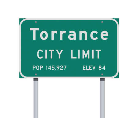 Vector illustration of the Torrance City Limit green road sign