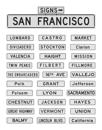 Vector illustration of the famous San Francisco streets and avenues road signs