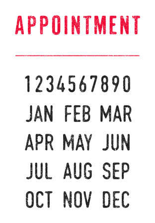 Vector illustration of the word Appointment with the line and editable dates (day, month and year) in ink stamps