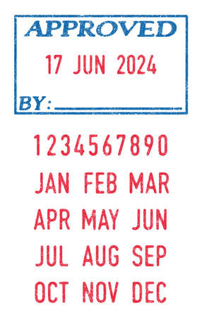 Vector illustration of the Approved stamp and editable dates (day, month and year) in ink stamps