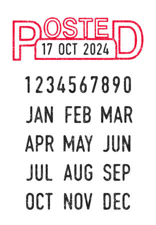 Vector illustration of the Posted stamp and editable dates (day, month and year) in ink stamps