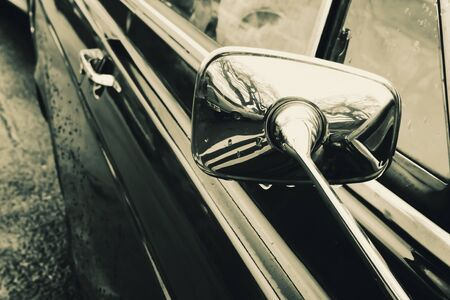 Side mirror of a car closeup Stock Photo