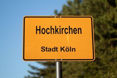 City entrance sign Cologne Hochkirchen