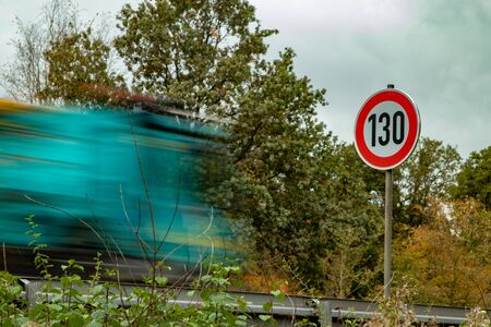 speed limit sign 130 at autobahn, highway Germany Reklamní fotografie