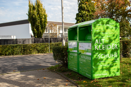 green clothes collection box, Germany, Meckenheim - 14 10 2019