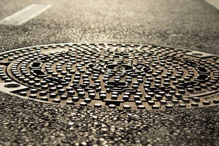 closeup of a manhole cover