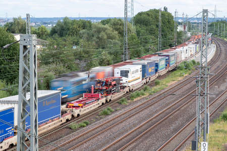 Huerth, NRW, Germany, 06 27 2020, two cargo trains, outdoor