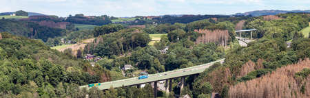 Overath, NRW, Germany, 06 19 2020, German highway bridge nearby a small village, A4
