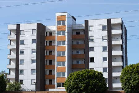 Huerth, NRW, Germany , 31 05 2020, high appartment building, blue sky