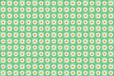 popart with plenty of daisy blossoms on green colored background, symmetric Standard-Bild - 150287387