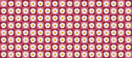 pattern with plenty daisy blossoms on red colored background, wallpaper